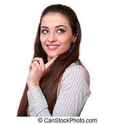 Thinking business woman looking happy with smile isolated on white