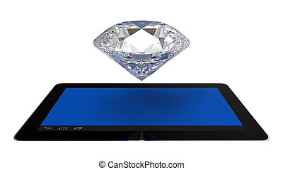Diamond over tablet computers on white, 3d render,...