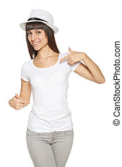 Smiling woman pointing at blank white t-shirt