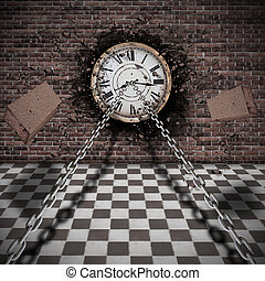 trapping time - old clock on a brick wall