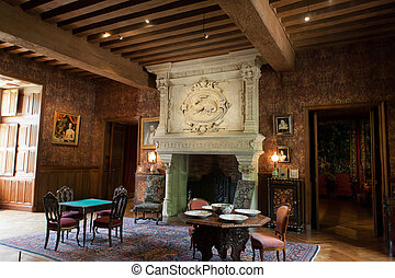 Interior decoration in castle of Azay-le-Rideau. Loire...