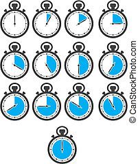 stop watch icon sets - blue colour
