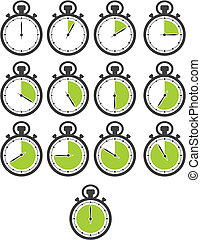 stop watch icon sets - green colour