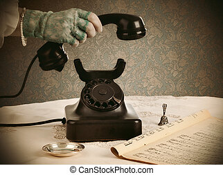 Old retro bakelite telephone on white background