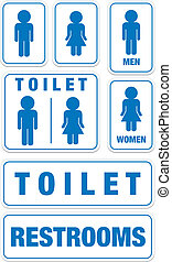 set of toilet signs