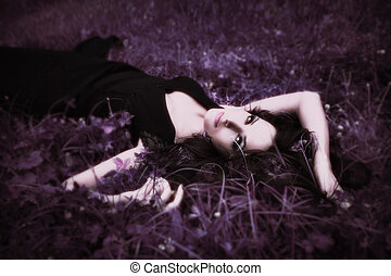 resting fairy - purple meadow with beautiful serene fairy...