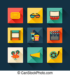 Set of movie design elements in flat style - Set of movie...
