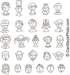 Smiling various faces
