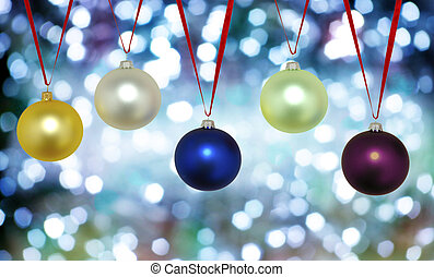 Christmas background with five evening balls