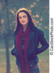 ordinary girl - young modern girl in casual clothes outdoor...