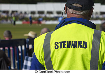 Sports steward - Steward on duty at sporting event in dayglo...