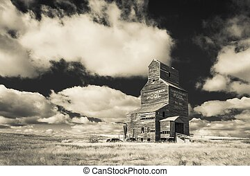 Vintage Grain Elevator - An old vintage wooden grain...