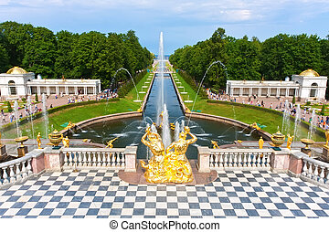 Peterhof - Fountains in Petrodvorets Peterhof, Saint...