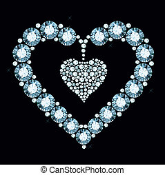 Diamond Heart - heart made of shiny gems