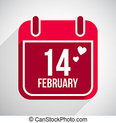 Valentines day flat calendar icon. 14 february