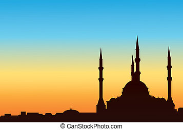 Ancient mosque against the blue sky