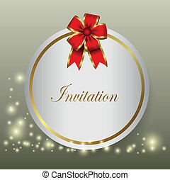 invitation - red ribbon, which can be used for celebrations...