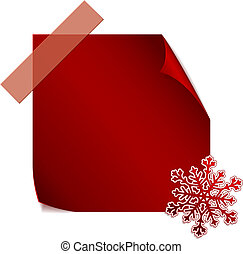 Red paper snowflake over red sticke