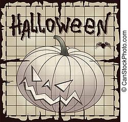 Halloween pumpkin over old paper