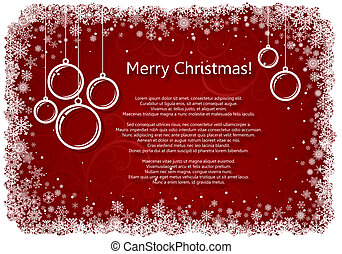 Red Christmas background with snowflakes. - Red Christmas...