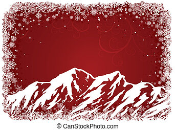 Red Christmas background with mountains and snowflakes....