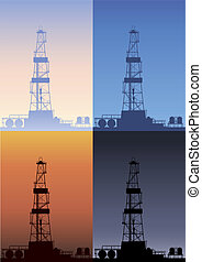 Oil rig at different times of the day. Detailed vector illustration.