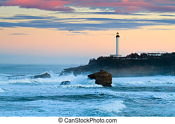 Biarritz Lighthouse in the Storm - The iconic lighthouse of...