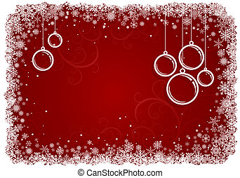 Red Christmas background with snowflakes.