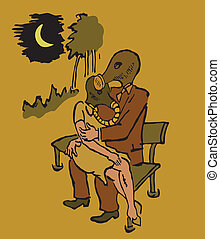 man and woman sitting on a bench in gas masks