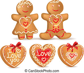 Gingerbread love. Contains transparent objects. EPS10