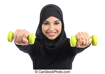 Arab woman doing weights fitness concept isolated on a white...