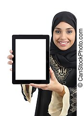 Arab woman showing a tablet display application isolated on...