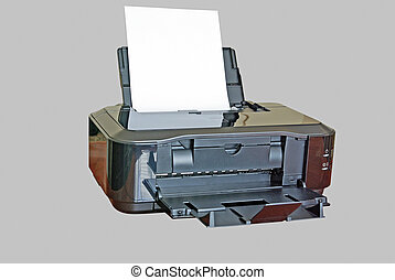 Inkjet isolated printer - Inkjet black printer isolated on a...