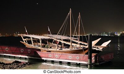 Arabic dhows at night, Doha - Traditional arabic dhows at...