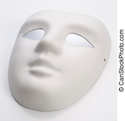 white cardboard mask undecorated