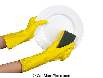 Dishwashing isolated on white - Hands in yellow rubber...