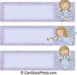 Horizontal banner with cute angels. Cute angels. Contains...