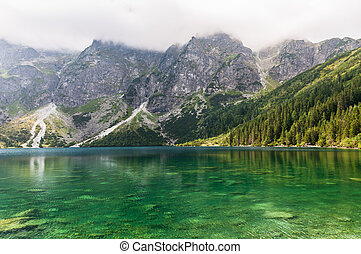 Heavy clouds over Morkie Oko Lake in polish Tatra Mountains