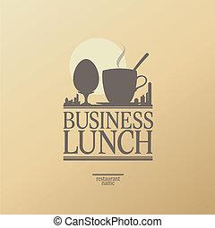 negócio, almoço, menu