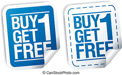 Promotional sale stickers. - Buy one get one free,...