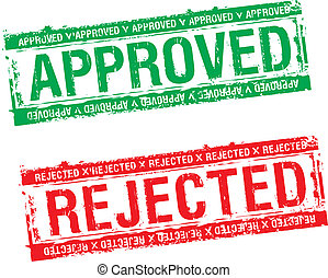 stamps approved and rejected - vector rubber stamps approved...