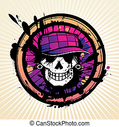 T-shirt vector skull - Skull grunge design for t-shirt