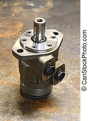 Hydraulic pumpmotor, close up photo industrial concept