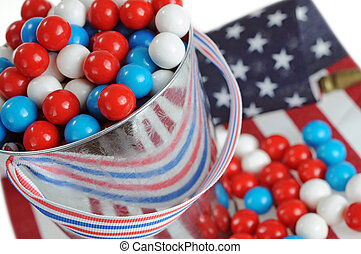 July 4th candy with red, blue, and white color