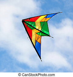 Nice kite flying over blue sky - Nice kite flying on a over...