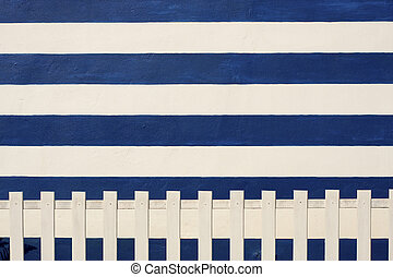 Nautical theme background - Wall and palisade of blue and...