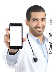 Arab doctor man showing a smart phone display application...