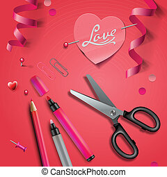 Set Of Happy Valentine's Day art craft objects - Set of...