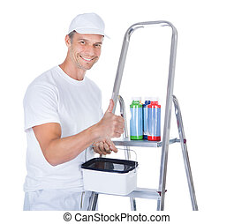 Painter With Swatch Book - Mature Painter With Paint Bottles...
