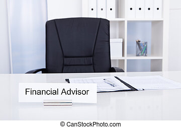 Financial Advisor Title On Nameplate - Photo Of Financial...